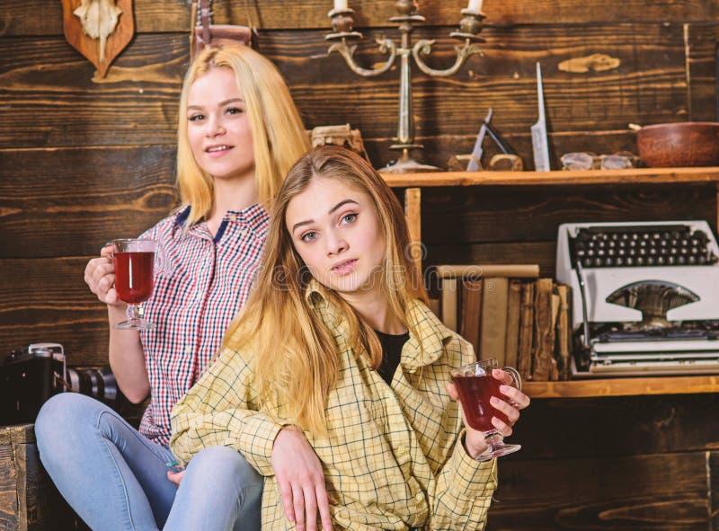 Meisjes die en overwogen wijn ontspannen drinken De vrienden in toevallige uitrustingen genieten van warme atmosfeer, houten binn stock fotografie
