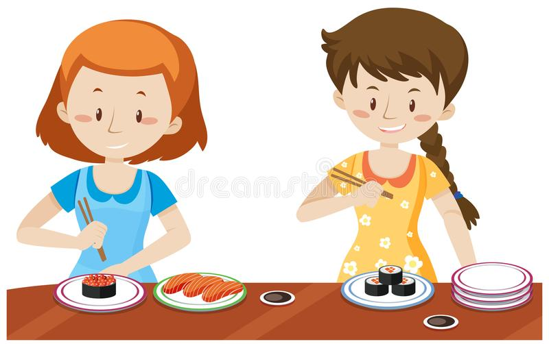 Meisjes die Japanse Sushi eten vector illustratie