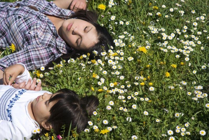 Meisjes die onder madeliefjes in een weide slapen royalty-vrije stock afbeelding