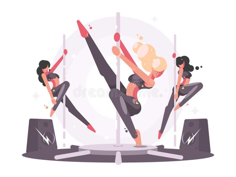 Meisjes die op pyloon dansen stock illustratie