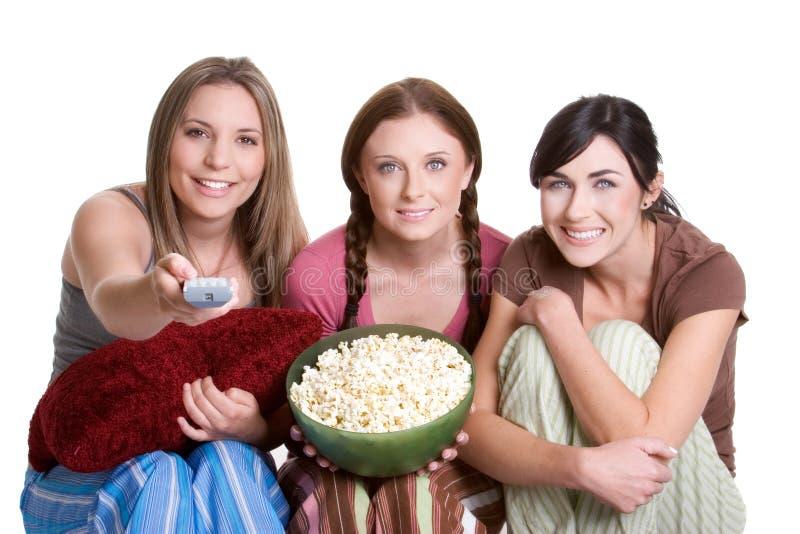 Meisjes die op Televisie letten royalty-vrije stock afbeelding