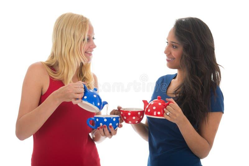 Meisjes die Thee drinken royalty-vrije stock foto's