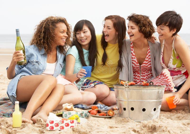 Meisjes die van Barbecue op Strand samen genieten royalty-vrije stock afbeeldingen