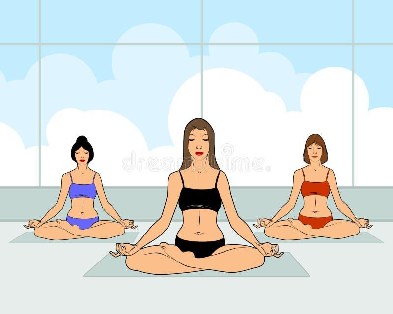Meisjes die yoga uitoefenen stock illustratie