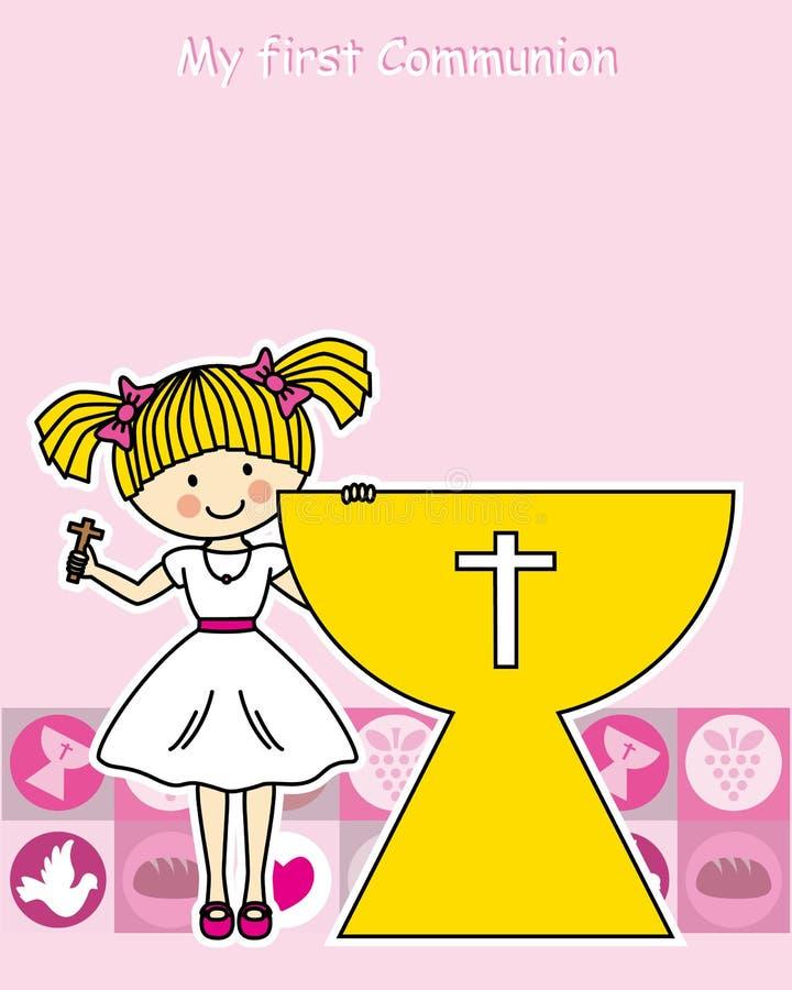 Meisjes eerste Heilige Communie royalty-vrije illustratie