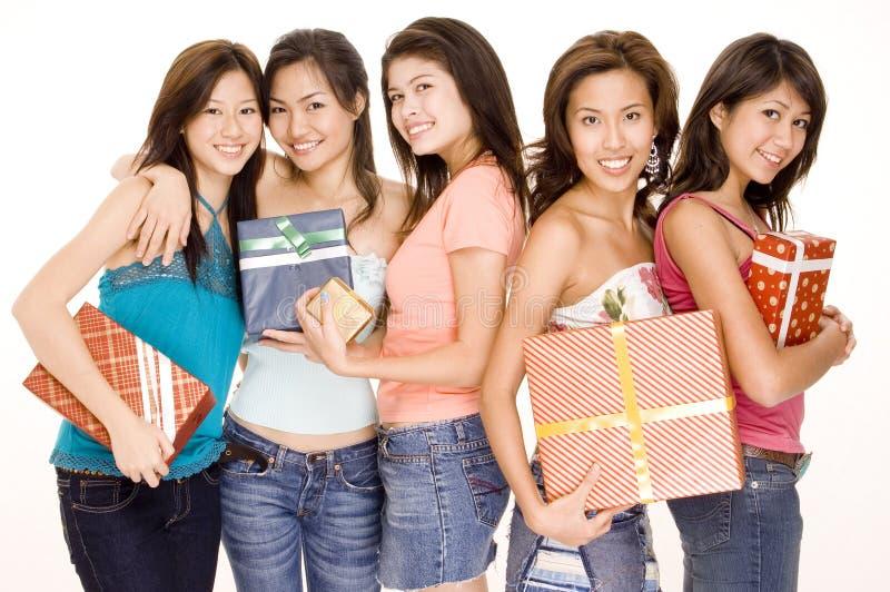 Meisjes en Giften #1 royalty-vrije stock afbeelding