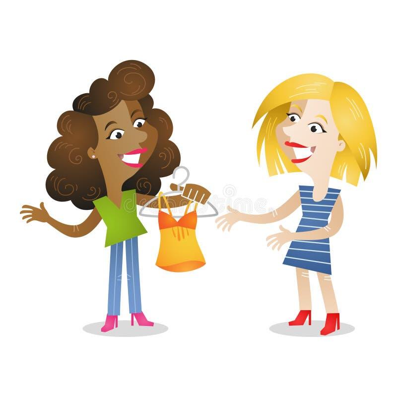 Meisjes het winkelen kleren royalty-vrije illustratie