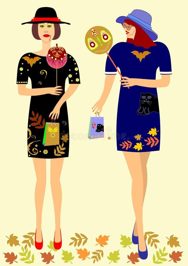 Meisjes in kleding met symbolen Halloween royalty-vrije illustratie