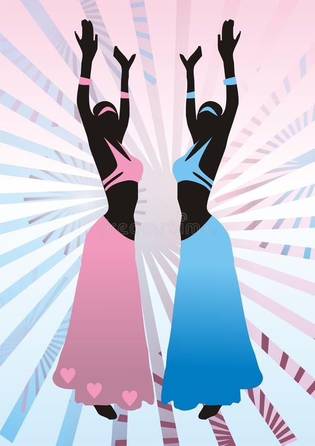 Meisjes in kostuums, het oostendans vector illustratie