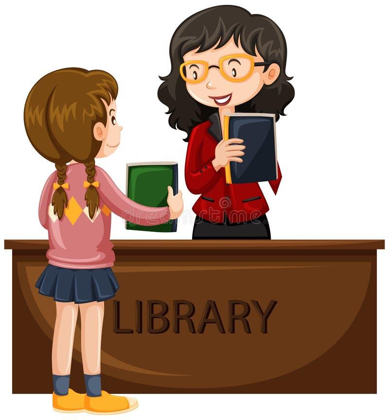 Meisjes lenend boek van bibliotheek vector illustratie