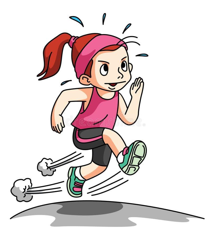 Meisjes Lopende die Oefening op wit wordt geïsoleerd stock illustratie