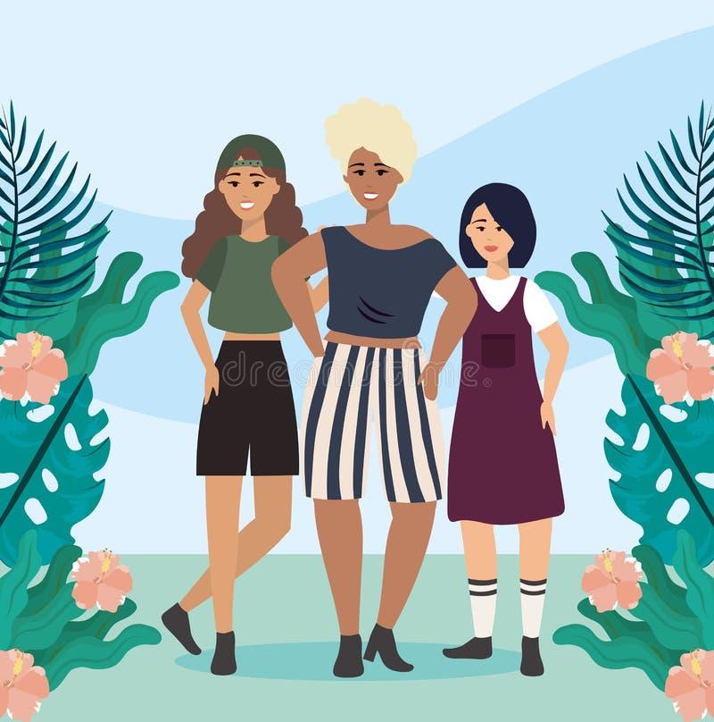 Meisjes met blouse en kort met kledings vrijetijdskleding vector illustratie