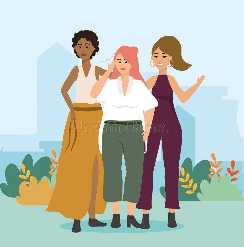 Meisjes met blouse en rok met broek en kleren uit één stuk royalty-vrije illustratie
