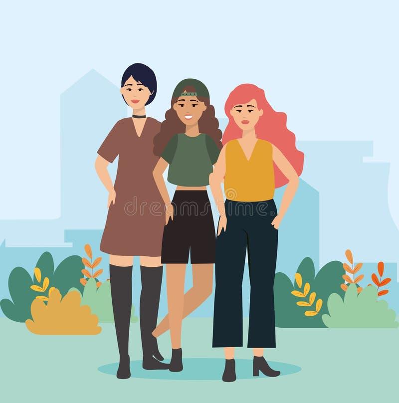 Meisjes met kleding en blouse met korte en broekkleren vector illustratie