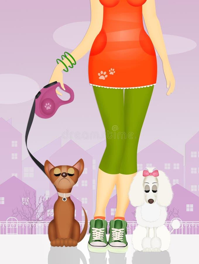 Meisjes met leuke honden stock illustratie