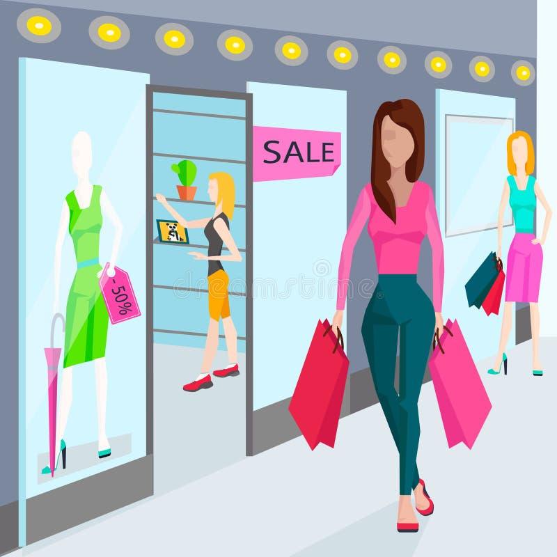 Meisjes met zakken voor het winkelen Winkels in royalty-vrije illustratie