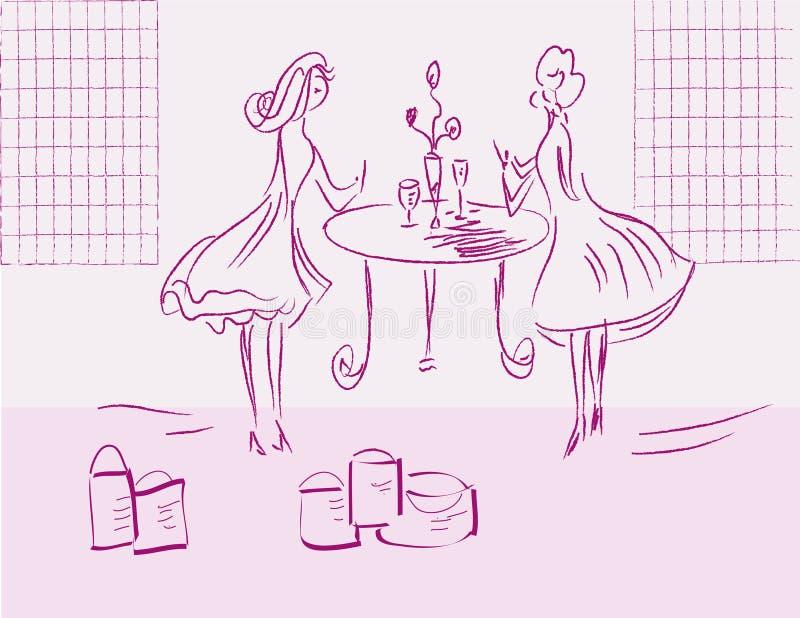 Meisjes na het winkelen royalty-vrije illustratie