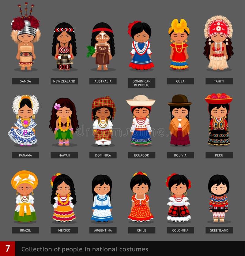 Meisjes in nationale kostuums stock illustratie