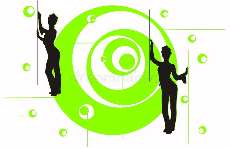 Meisjes op de groene cirkel stock illustratie