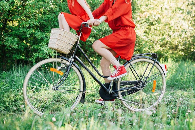 Meisjes op een fiets stock foto's