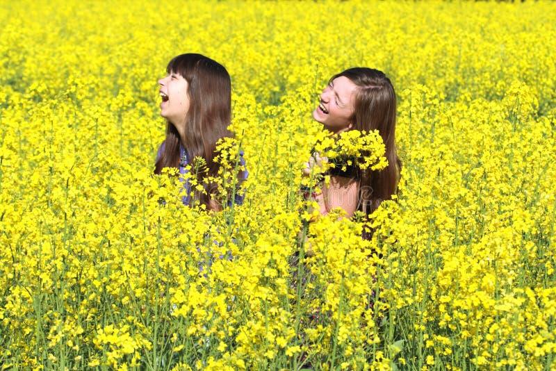 Meisjes op Gebied royalty-vrije stock fotografie