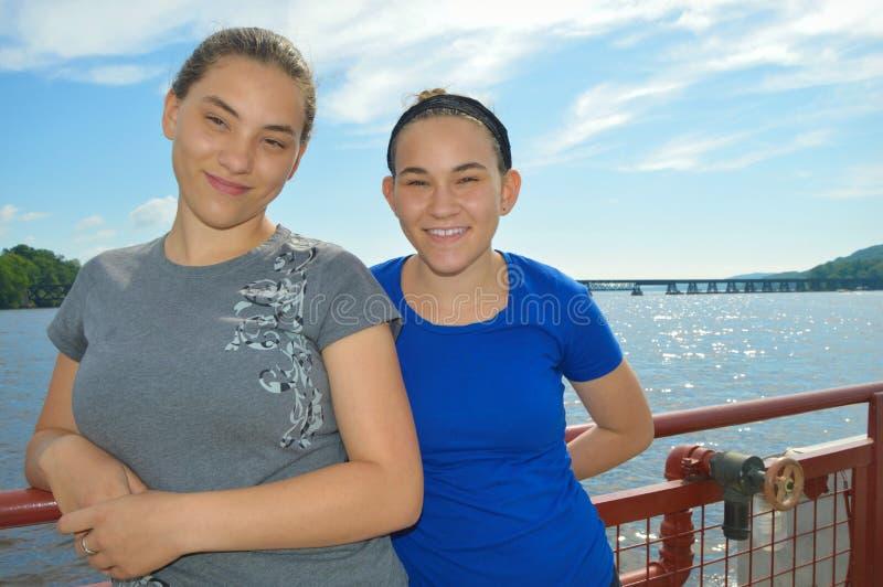 Meisjes op Veerboot royalty-vrije stock foto