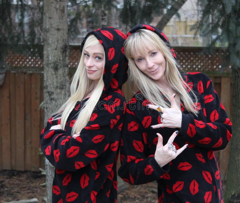 Meisjes in pj royalty-vrije stock fotografie