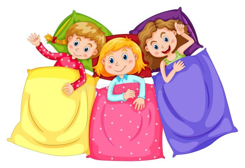 Meisjes in pyjama's bij sluimerpartij vector illustratie
