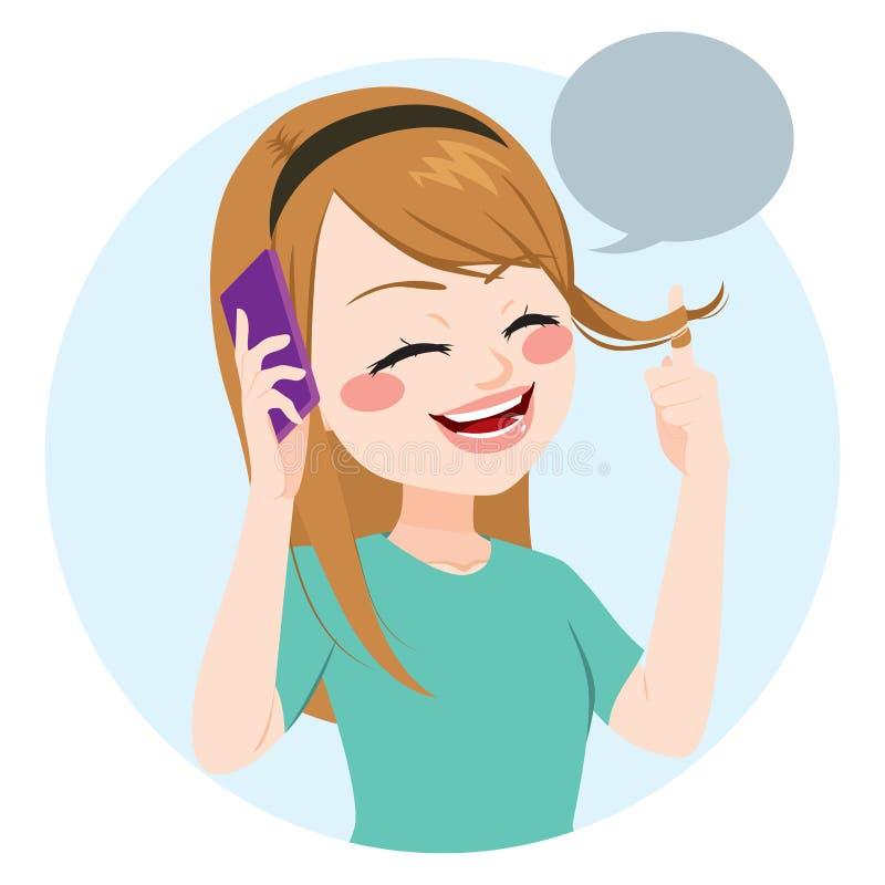 Meisjes Sprekende Telefoon royalty-vrije illustratie