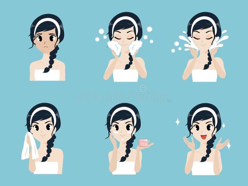 Meisjes van de stap de gezichts reinigende acne royalty-vrije illustratie