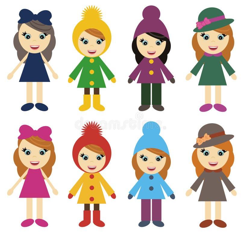 Meisjes in verschillende kleren op witte achtergrond stock illustratie