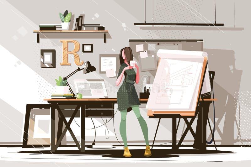 Meisjesarchitect die aan project werkt vector illustratie