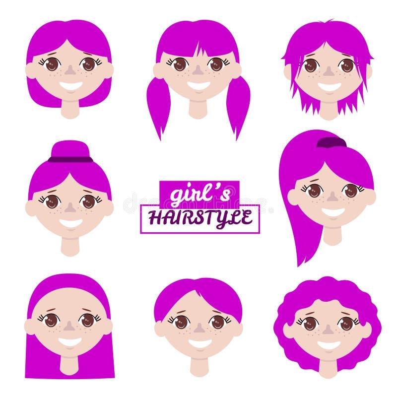 Meisjesavatar vastgestelde vectorillustratie Portret van beeldverhaal het jonge meisjes met verschillende haarstijl op witte acht vector illustratie