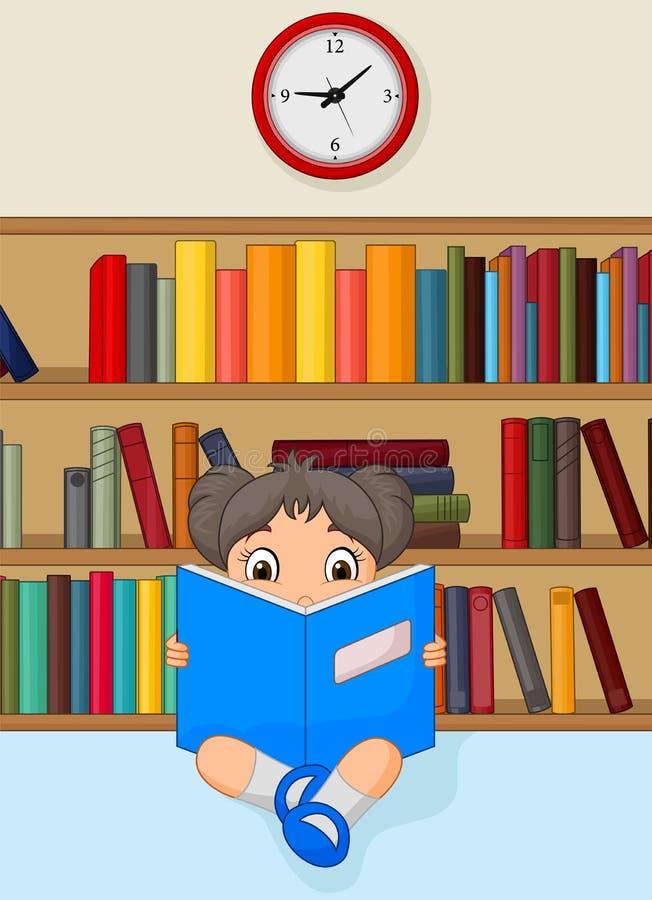 Meisjesbeeldverhaal die een Boek in Bibliotheek lezen vector illustratie