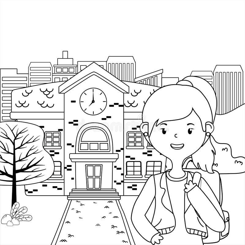 Meisjesbeeldverhaal van schoolontwerp stock illustratie