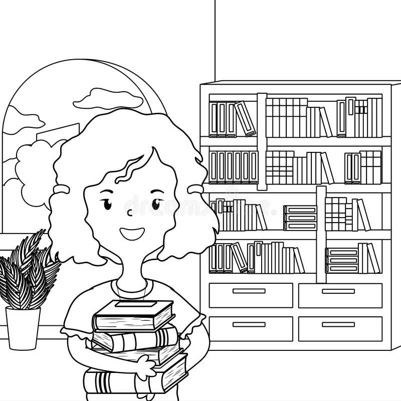 Meisjesbeeldverhaal van schoolontwerp vector illustratie