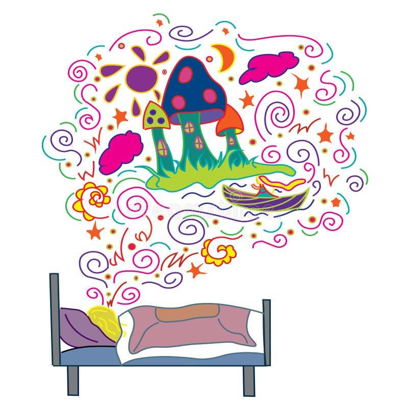 Meisjesdroom een magisch kasteel en een prinses stock illustratie