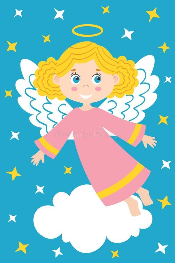 Meisjesengel op de wolk royalty-vrije illustratie