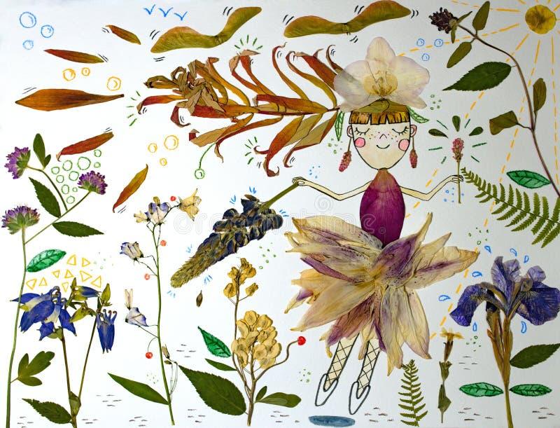 Meisjesfee met toverstokje die door de magische tuin vliegen royalty-vrije illustratie