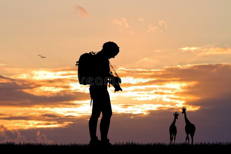Meisjesfotograaf bij zonsondergang royalty-vrije illustratie
