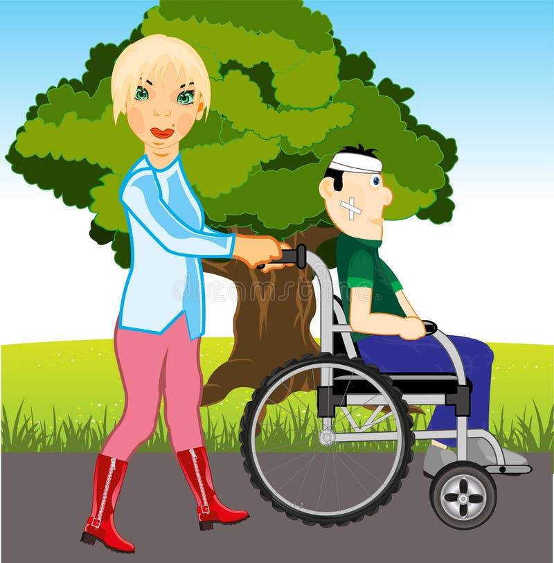 Meisjesgangen met zieken in park Vector illustratie royalty-vrije illustratie