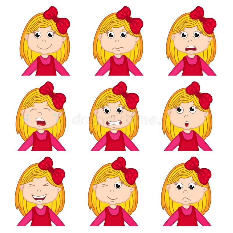 Meisjesgezichten die verschillende emoties tonen vector illustratie
