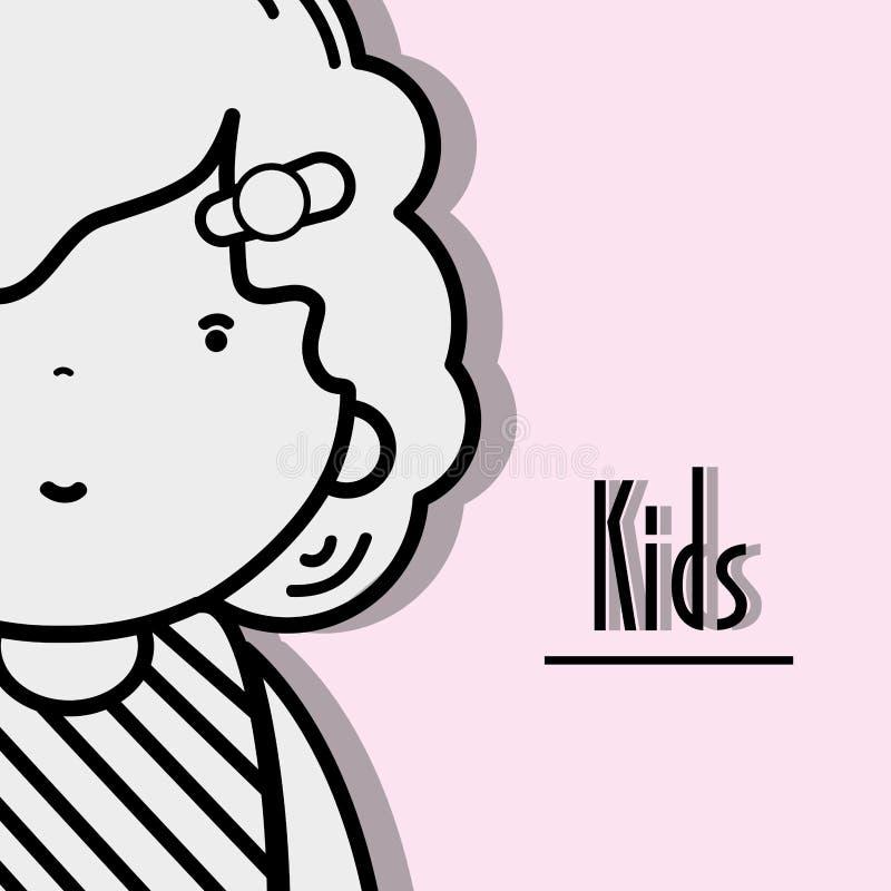 Meisjesjong geitje met kapsel en kawaiiavatar royalty-vrije illustratie