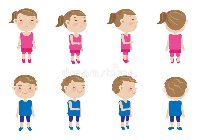 Meisjesjongen stock illustratie