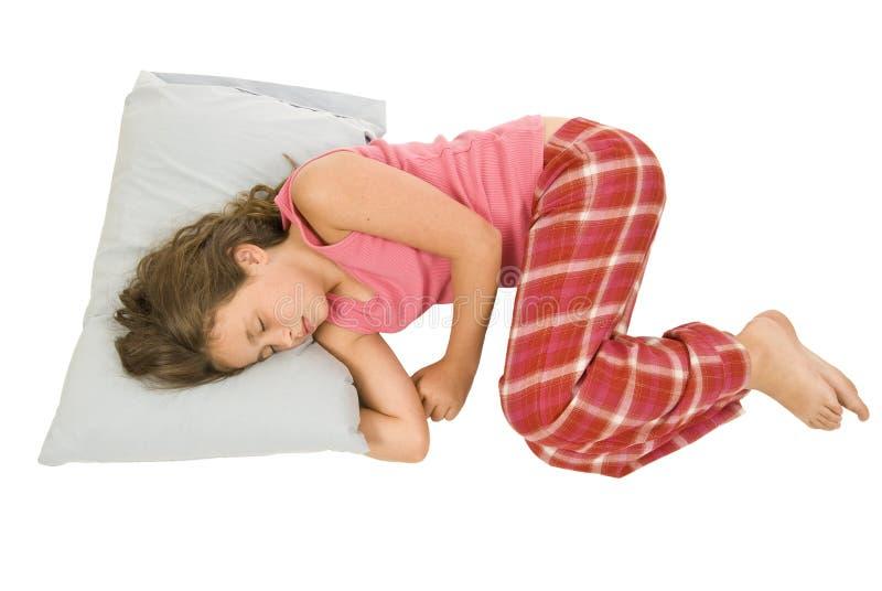 Meisjeslaap in Foetale Positie royalty-vrije stock afbeelding