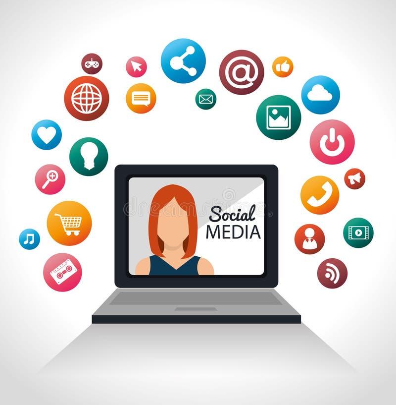 Meisjeslaptop voorzien van een netwerk sociale media royalty-vrije illustratie