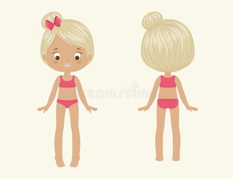 Meisjeslichaam Voorzijde en Rug vector illustratie