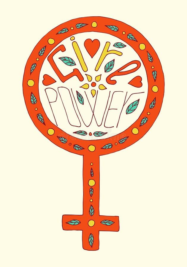 Meisjesmacht het van letters voorzien royalty-vrije illustratie