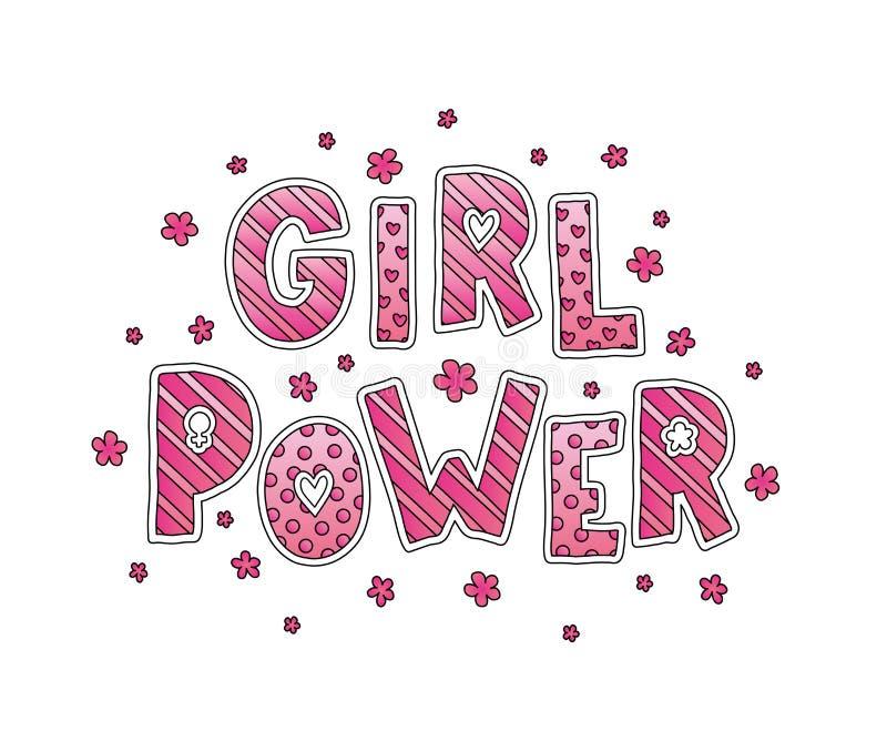 Meisjesmacht het van letters voorzien vector illustratie