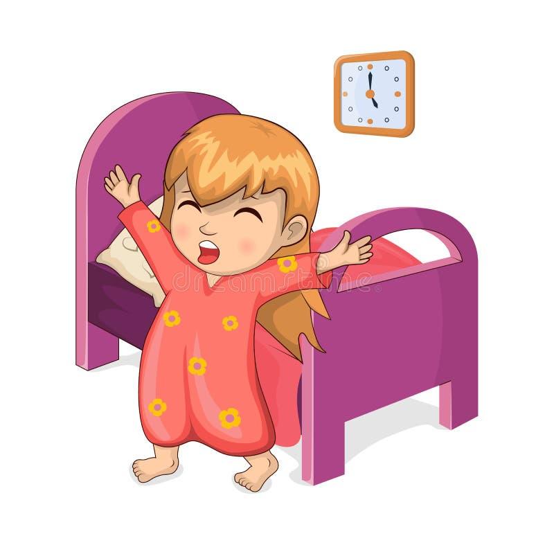 Meisjesontwaken van Slaap Vectorillustratie vector illustratie